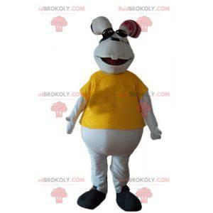 Biała i pulchna maskotka królik z żółtą koszulką -