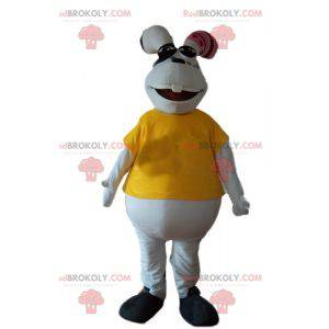 White and plump rabbit mascot with a yellow t-shirt -