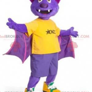 Yellow and green purple bat mascot - Redbrokoly.com
