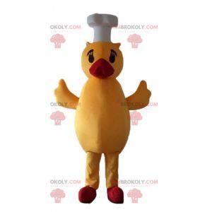 Maskot žlutá kachna a červená kočka s kuchařskou čepicí -