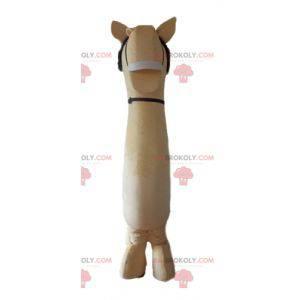 Veldig realistisk stor beige og brun hestemaskot -