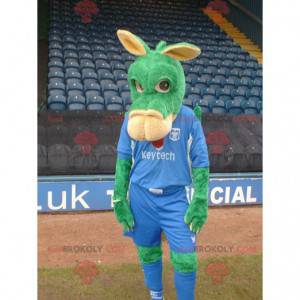 Green and pink donkey mascot in blue outfit - Redbrokoly.com