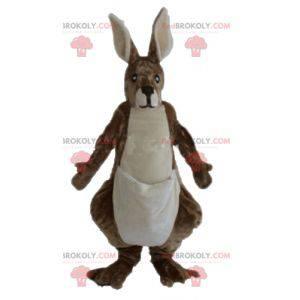Giant soft and hairy brown and white kangaroo mascot -