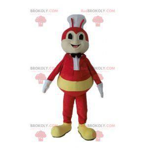 Żółty i czerwony owad mucha maskotka z kapeluszem szefa kuchni