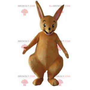 Sehr lustiges und lächelndes braunes Känguru-Maskottchen -