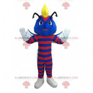 Modrý vosí maskot pruhovaný s červenou barvou - Redbrokoly.com