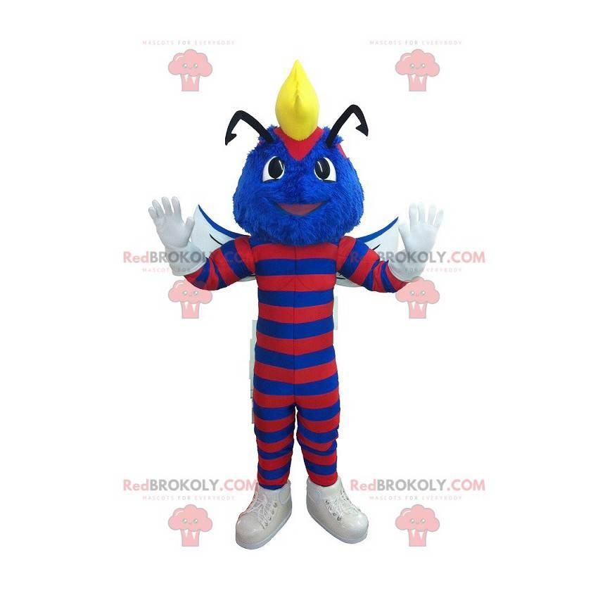 Blaues Wespenmaskottchen mit rotem Streifen - Redbrokoly.com