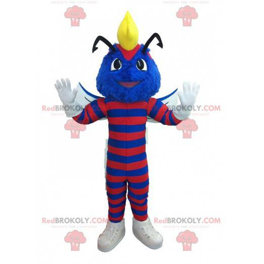 Blue wasp mascot striped with red - Redbrokoly.com