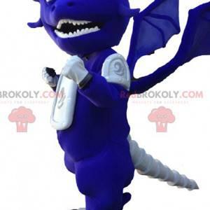Vtipný a originální modrý a bílý drak maskot - Redbrokoly.com