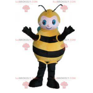 Velký černý včelí žlutý a modrý maskot - Redbrokoly.com