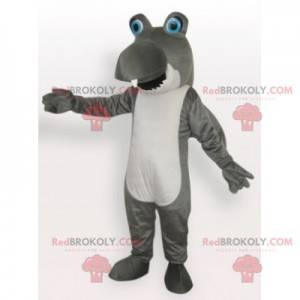 Funny gray and white shark mascot - Redbrokoly.com