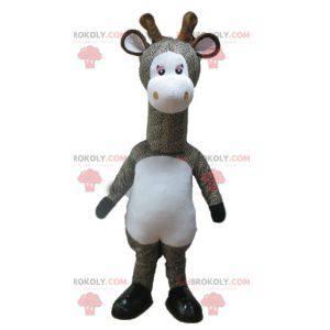 Šedá a bílá skvrnitá žirafa maskot - Redbrokoly.com