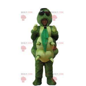 Mascot large green orange yellow and giant blue caterpillar -