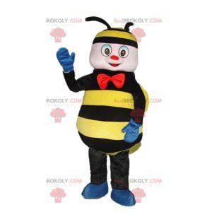 Černý a žlutý včelí maskot s červenou mašlí - Redbrokoly.com