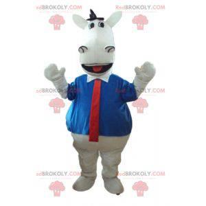 Biały koń maskotka z koszulą i krawatem - Redbrokoly.com