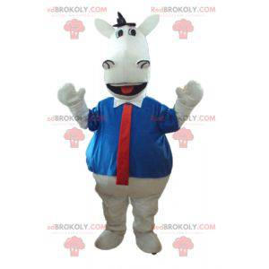 White horse mascot with a shirt and tie - Redbrokoly.com