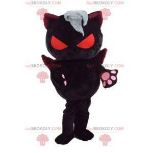 Djevelsk kattemaskott med oransje øyne og vinger -