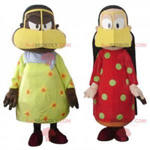2 mascottes van zeer kleurrijke oosterse vrouwen -