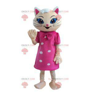 Maskot béžové kočky s růžovými šaty a modrýma očima -