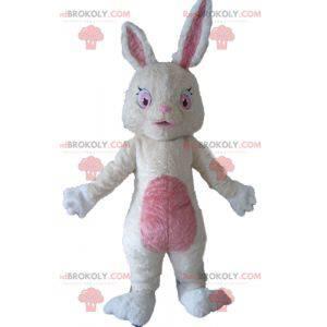 Kanin maskot plysj myk hvit og rosa - Redbrokoly.com