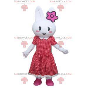 Hvit kaninmaskot med en rød prikkekjole - Redbrokoly.com