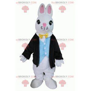 Maskot bílého králíka oblečený ve velmi nóbl kostýmu -