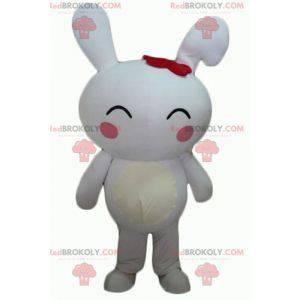 Velký obří maskot bílého králíka s růžovými tvářemi -