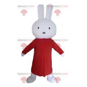 Bílý plyšový králičí maskot s dlouhými červenými šaty -
