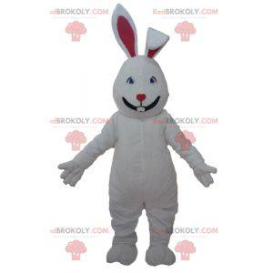 Mascot big white and red rabbit cute and attractive -