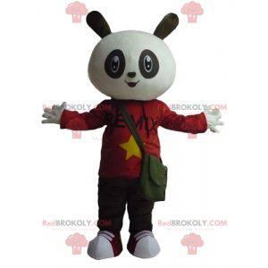Bílý a černý králík maskot v červené a černé oblečení -