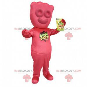 Mascotte gigantische rode snoep - mascotte Sour Patch -