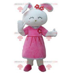 Maskotka śliczny biały królik ubrany w różową sukienkę -