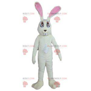 Bardzo zabawna duża biało-różowa maskotka królik -