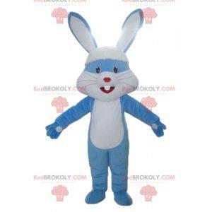 Mascotte gigante di coniglio blu e bianco con grandi orecchie -