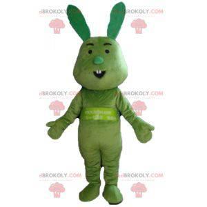 Zábavný a originální maskot celého zeleného králíka -