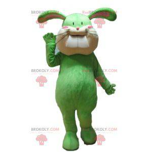 Weiches und süßes grünes und beige Kaninchenmaskottchen -