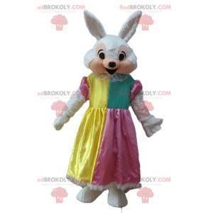 Biało-różowa maskotka królik z sukienką księżniczki -