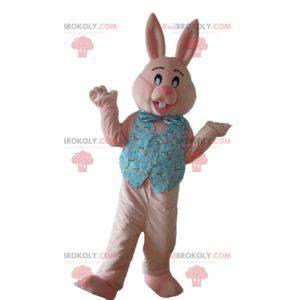 Růžový králík maskot s košili a motýlkem - Redbrokoly.com
