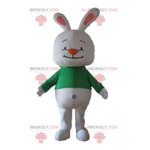 Velký maskot bílého králíka se zeleným tričkem - Redbrokoly.com