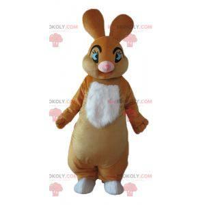 Weiches und elegantes braunes und weißes Kaninchenmaskottchen -