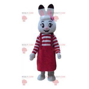 Bílý králík maskot s červenými šaty - Redbrokoly.com