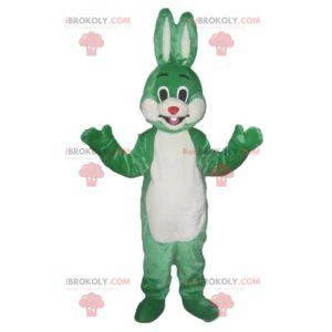 Zelený a bílý králík maskot s úsměvem a originální -