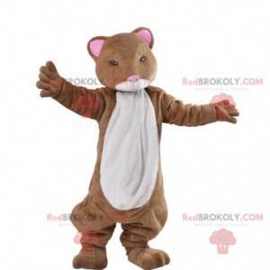 Brown and white ferret hamster mascot - Redbrokoly.com