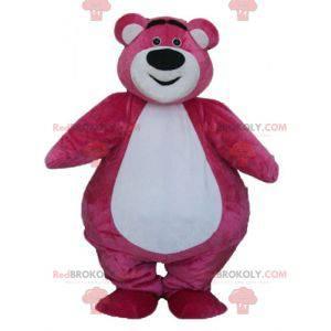 Big pink and white bear mascot plump and cute - Redbrokoly.com