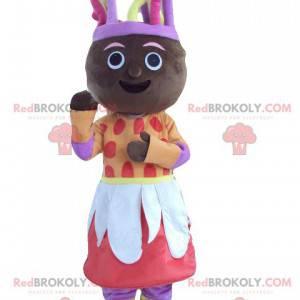 Mascota de mujer africana en traje colorido - Redbrokoly.com