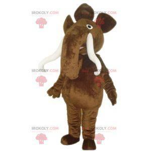 Velký hnědý mamutí maskot s velkými kly - Redbrokoly.com