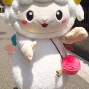 Mascote da ovelha branca com chifres amarelos - Redbrokoly.com