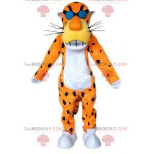Orange white and black tiger mascot with glasses -