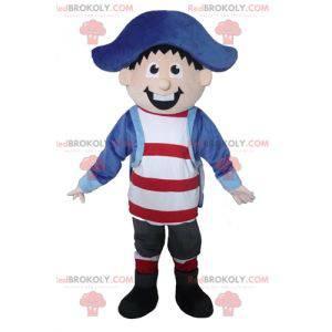 Mascota de marinero capitán pirata muy sonriente -