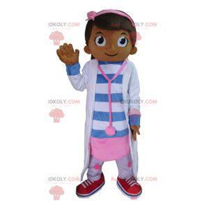 Maskotka dziewczyna lekarz pielęgniarka w kolorze różowym i